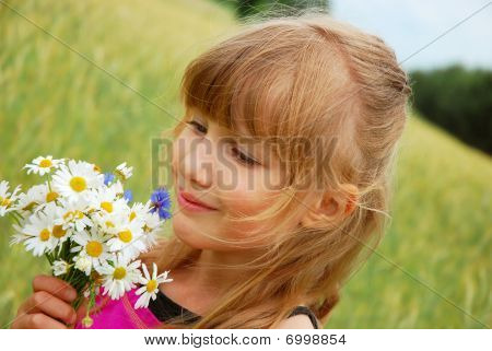 Young Girl  On Field