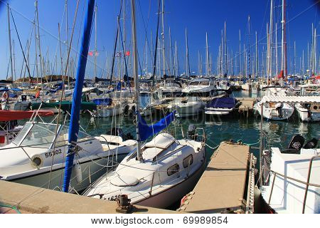 Boat Harbor on the Mediterranean Sea in Herzliya Israel