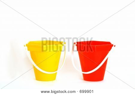 red and yellow buckets