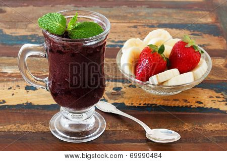 Acai Pulp In Glass With Fresh Mint, Banana And Strawberry