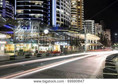 Night traffic trails on Surfers Paradise Esplanade