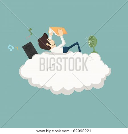 Businessman Resting On A Cloud
