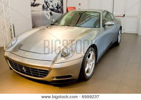 Modena, Italy - July 09: Grey Sport Car Ferrari At Exhibition Of Ferrari Cars On July 09, 2008 In Mo