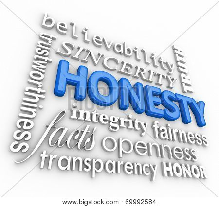 Honesty and related 3d words including sincerity, believability, integrity, openness, transparency, truth, fairness and other virtues that build your reputation