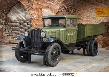 Russia, Nizhny Novgorod - Aug 06, 2014: Soviet Car  During The Second World War Gaz-aa  Outdoor Exhi