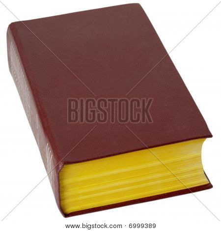 Big Book In Brown Leather Cover On White