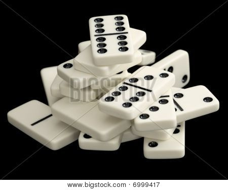 Heap Of Dominoes Isolated On Black Background