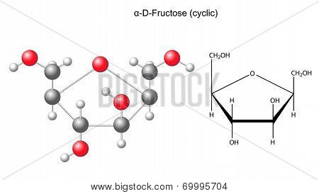 Structural Chemical Formula And Model Of Fructose (alpha-d-fructose)