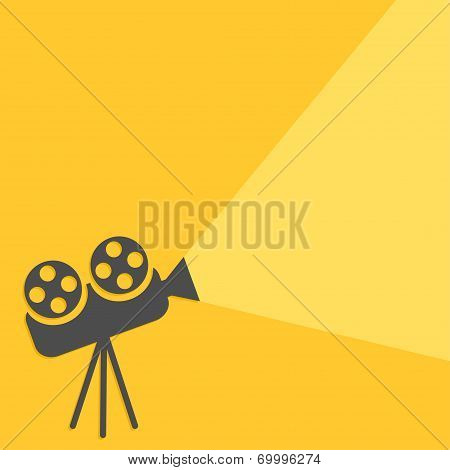 Cinema projector with ray of light. Flat design.