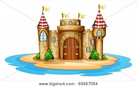 Illustration of a castle in the island on a white background