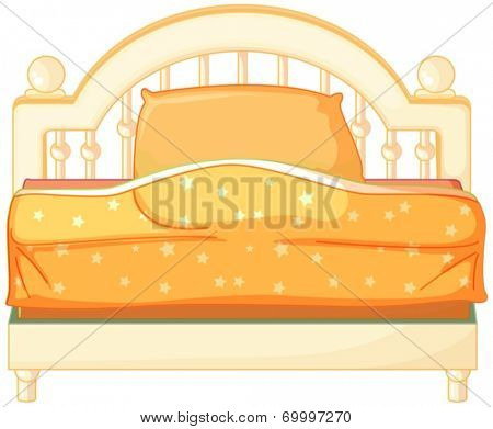 Illustration of a king sized bed on a white background