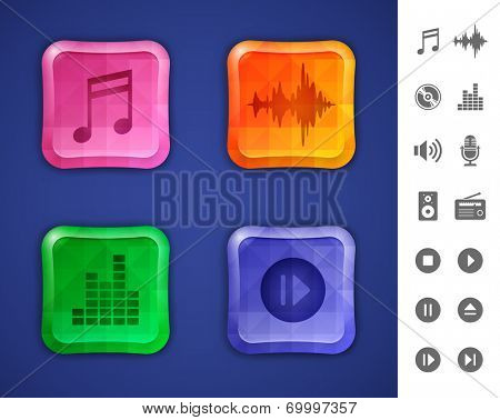 Music and sound icons. Glossy colorful buttons with mosaic patterns for websites or applications. Vector illustration