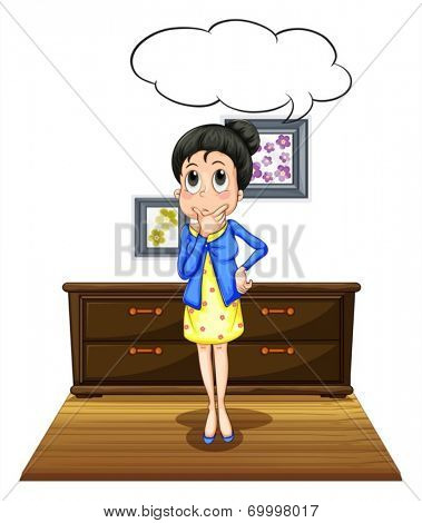 Illustration of a woman standing in a room
