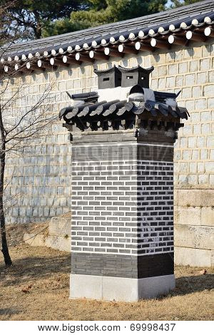 Korean Traditional Brick Chimney Near A Building