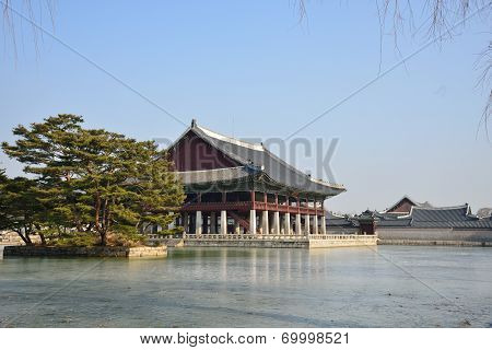 Artificial Island And Gyeonghoeru Pond In Gyeongbokgung