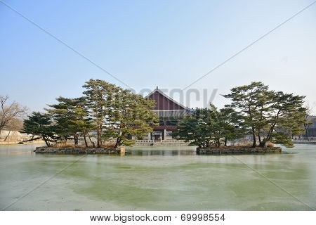 Artificial Islands And Gyeonghoeru Pond In Gyeongbokgung
