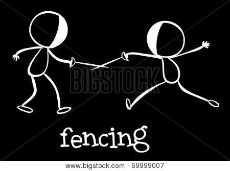 Illustration of stickmen fencing