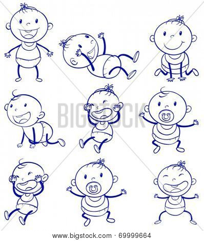 Illustration of a set of a baby with different actions