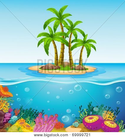 Illustration of a beautiful island in the middle of the sea