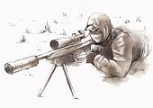 image of sniper  - An hand drawn  - JPG