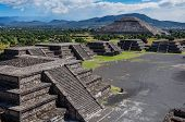 picture of aztec  - View Of Teotihuacan Ruins - JPG