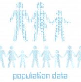 picture of population  - Family people as digital 1 0 data population statistics to tile horizontally - JPG