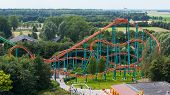 pic of amusement park rides  - Rollercoaster ride in an amusement park in the Netherlands - JPG