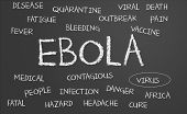 pic of hemorrhage  - Ebola word cloud written on a chalkboard - JPG