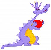 stock photo of valentines day card  - Romantic purple dragon holding a red heart - JPG