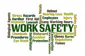 pic of biological hazard  - Work Safety word cloud on white background - JPG
