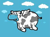 foto of moo-cow  - Flying Cartoon cow with tiny wings and clouds - JPG