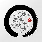 stock photo of bamboo leaves  - Enso Zen circle and bamboo illustration - JPG