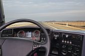 picture of truck-cabin  - View from truck cabin at freeway road - JPG