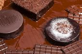 image of wieners  - still life of chocolate with Wiener cake and chocolate cakes - JPG