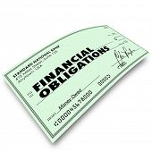 foto of mandate  - Financial Obligations words on a check as payment to creditors for bills due - JPG