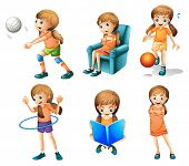 stock photo of hulahoop  - Illustration of the different activities of a young lady on a white background - JPG