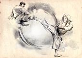 picture of karate  - An hand drawn illustration in calligraphic style from series Martial Arts - JPG