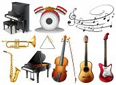 image of trombone  - Illustration of the set of musical instruments on a white background - JPG