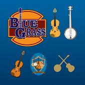 stock photo of bluegrass  - This is a set of six bluegrass instrument graphics featuring the fiddle - JPG