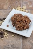 stock photo of crispy rice  - Chocolate and crispy rice no bake cookies - JPG
