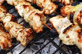 stock photo of brazier  - healthy shish kebab  - JPG