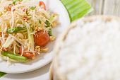 foto of green papaya salad  - Som Tam Thai  - JPG