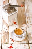 picture of wooden box from coffee mill  - Coffee cup on old wooden table - JPG