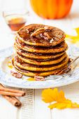 picture of pecan  - Spiced Pumpkin pancakes with maple syrup and pecan - JPG
