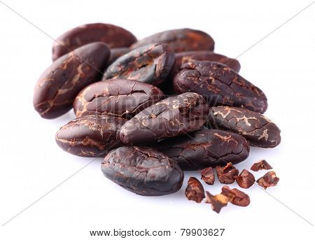 Cacao beans in closeup