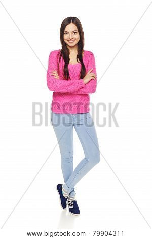 Full body woman showing thumbs up gesture