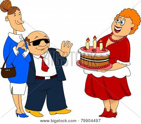 Woman With Cake And Guests