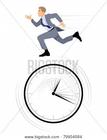 Businessman Rushing On White