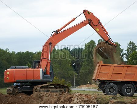 The Wheel Loader Excavator Loading Dumper Truck