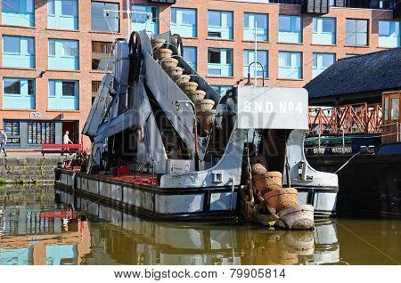 Dredger boat in Gloucester docks.